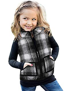oneflow Toddler Baby Girls Winter Warm Vest Clothes Buffalo Plaid Jacket Kids Puffer Quilted Gilet Coat