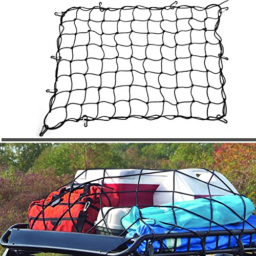"SUNER POWER 3' x 4' Bungee Cargo Net | Heavy Duty Bed Net Stretches to 6' x 8' Bungee Cord for Rooftop Cargo | 4"" x4"" Mesh Holds Small and Large Loads Tighter 