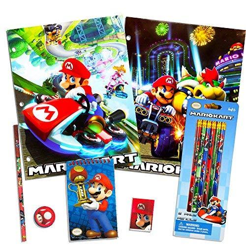 Nintendo Super Mario School Supplies Set -- Pencils, Folders, Erasers and More (12 Pc -