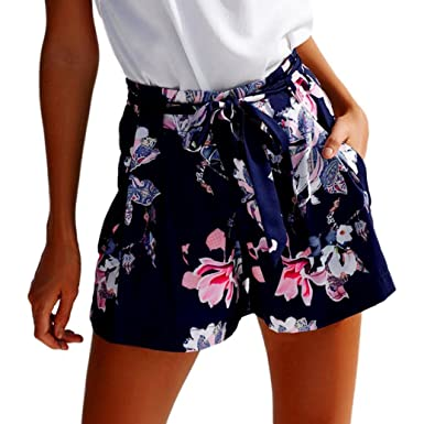 427d1ab7d8a0be ZARU Bedruckte Shorts für Damen, Frauen Reizvolle Hotpants Sommer  Freizeitshorts Strand Shorts Hohe Taille Kurze