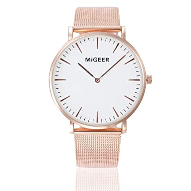 Dressin Womens Geneva Watch, Fashion Women Men Classic Gold Stainless Steel Analog Quartz Wrist Watch