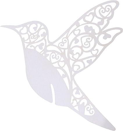 Segnaposto Matrimonio Uccelli.Trixes 50 X Segnaposti Uccelli Avorio In Carta Tagliati A Laser
