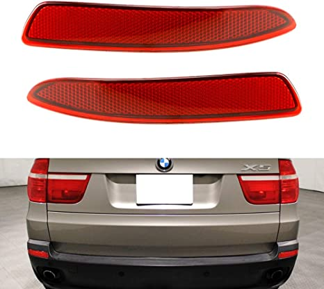 iJDMTOY Smoked Lens Rear Bumper Reflector Replacements Compatible With 2007-2010 BMW E70 X5 OE-Spec LH RH Assembly