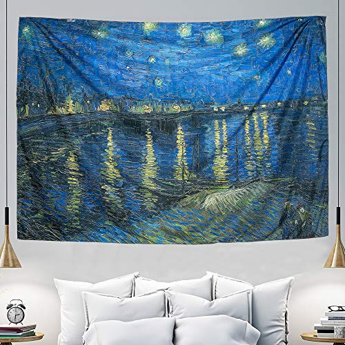 (IcosaMro Starry Night Tapestry Wall Hanging, Van Gogh Art Wall Tapestries [60x82.7][Double-folded Hems]-Large Star Blanket for Bedroom, Dorm, College, Living Room (Starry Night Over the Rhone))
