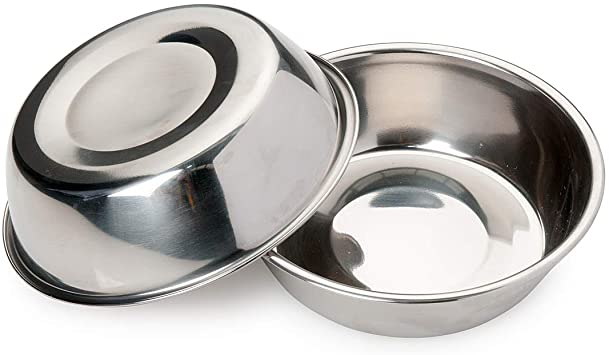 for Small Dogs and Cats,12oz Bonza Two Piece Replacement Stainless Steel Dog Bowls for Pet Feeding Station