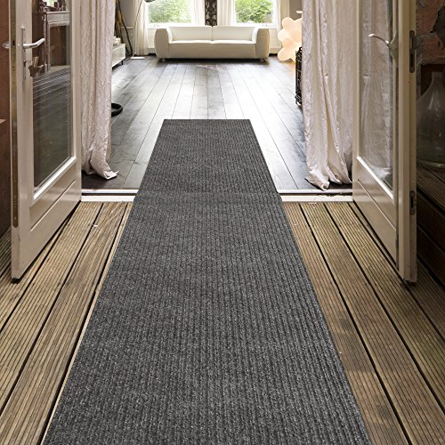 iCustomRug Indoor/Outdoor Utility Ribbed Carpet Runner And Area Rugs In Grey, Many Sizes Available (Outdoor Runner Carpet)