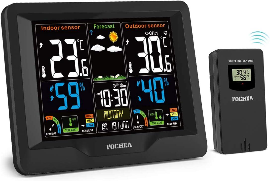 Estación Meteorológica Inalámbrica con Sensor Exterior, FOCHEA Higrómetro Termómetro Interior y Exterior Pantalla LCD Color Digital con Alerta Humedad Barómetro, Pronóstico del Tiempo, Alarmas, Snooze