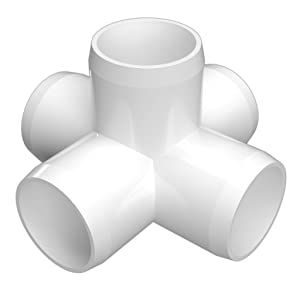 "FORMUFIT F0015WC-WH-4 5-Way Cross PVC Fitting, Furniture Grade, 1"" Size, White (Pack of 4)"