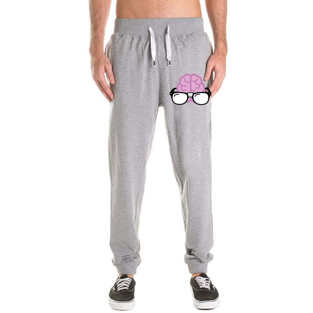 Brain With Glasses Men's Athletic Sweatpants Drawstring Closure Shut Side Pockets Jogger Pants by FERNANDO HUNG