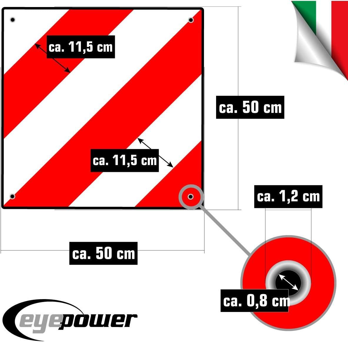 Alu Wende Warntafel Italien Spanien 50 x 50 cm mit Ösen Gummischutz reflektiert