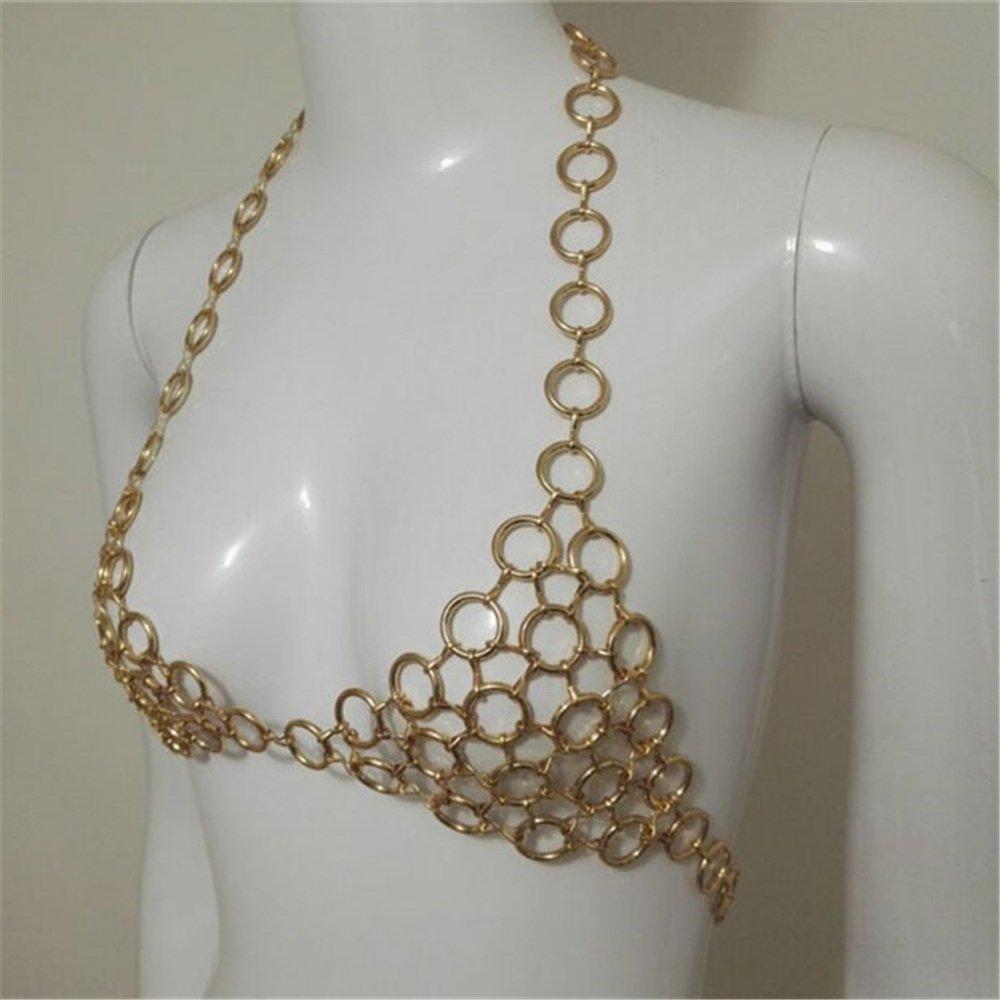 LXYFMS Ladies Metal Body Chain Nightclub Hollow Strap Loop Stitching Bra Chain Bridal Accessories