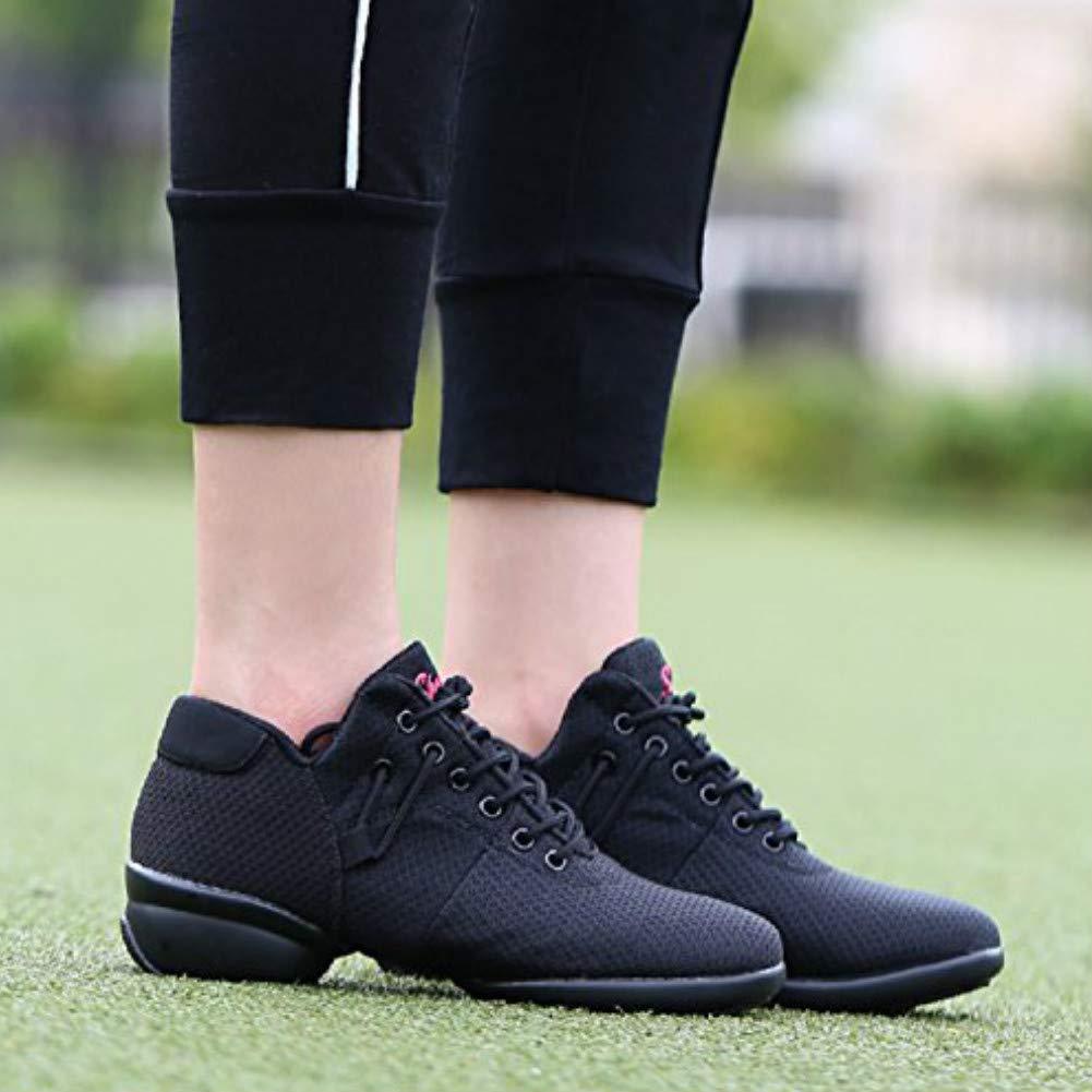 Womens Mesh Jazz Shoes Lady Girls Modern Split-Sole Dance Sneakers for Ballroom Breathable Lightweight