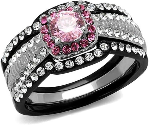 Women/'s Round Cut CZ Black Stainless Steel Belt Buckle Fashion Ring Size 5-10
