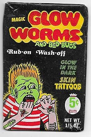 Amazon Com 1968 Fleer Magic Glow Worms And Bed Bugs Rub On Wash Off