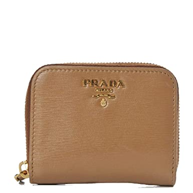 37640272475ec7 Image Unavailable. Image not available for. Color: Prada Portamonete  Vitello Move Caramel Beige Leather Zip Around Wallet 1MM268