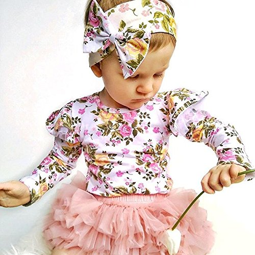 05cc816e03d5 Amazon.com  Infant Baby Girl Floral Ruffle Romper Long Sleeve Bodysuit Tops  Clothes  Baby