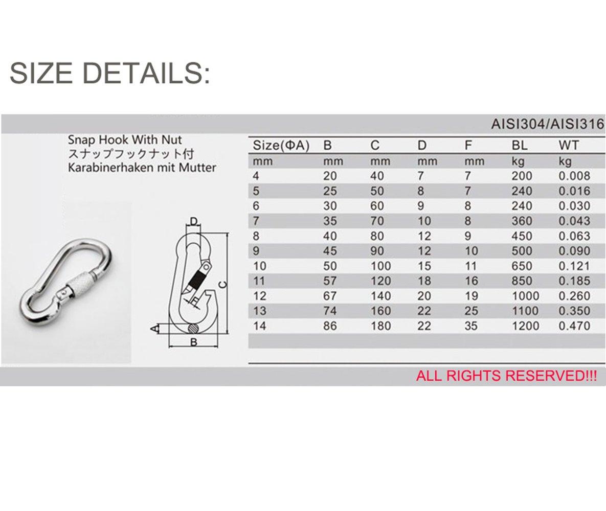 304-2PC 6mm Pack de 2 2 Grado 304/Acero inoxidable Seguridad Mosquet/ón Escalada mosquet/ón con tornillos 1//4