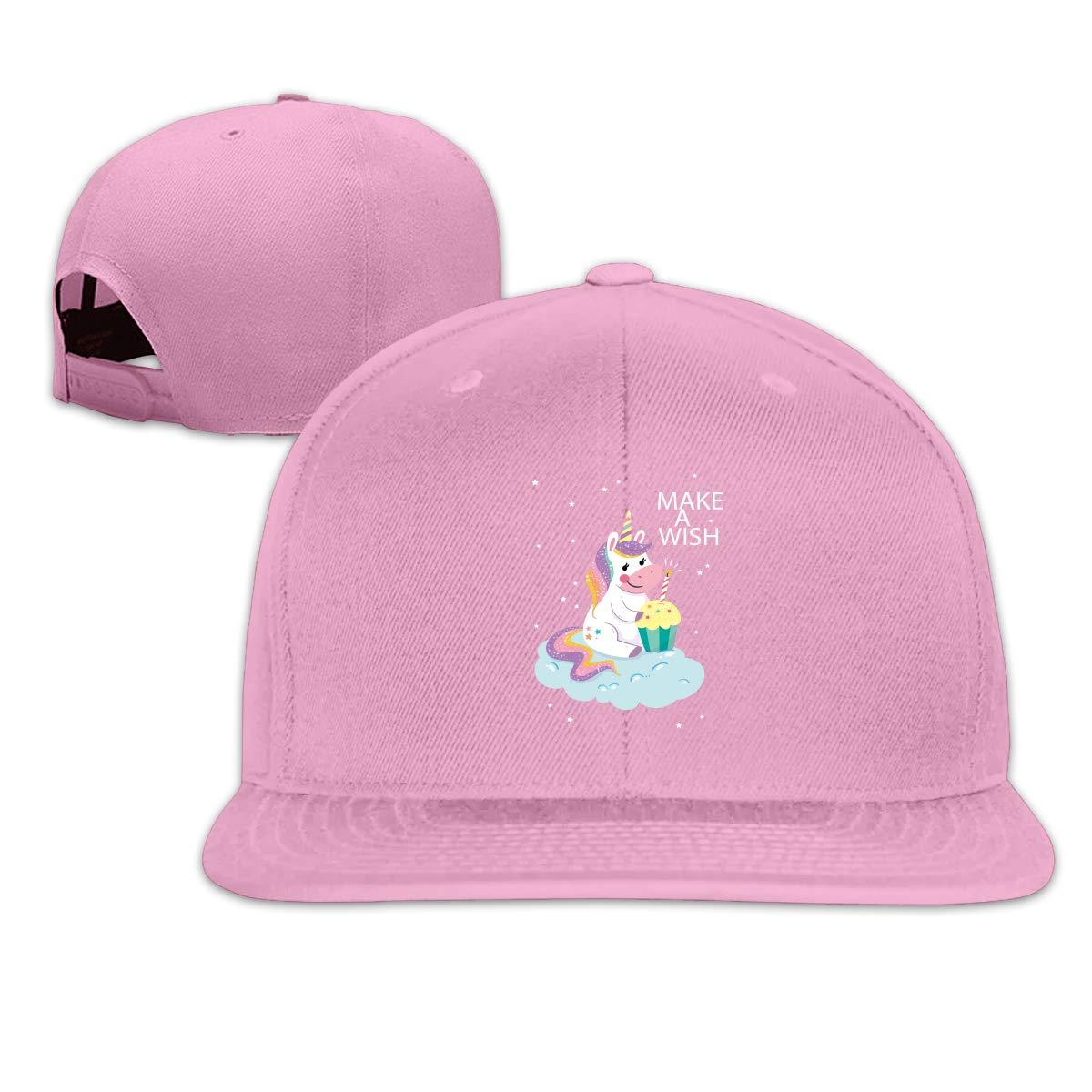 Wishing Unicorn Flat Brim Baseball Cap Adjustable Snapback Trucker Hat Caps Hip Hop Hat