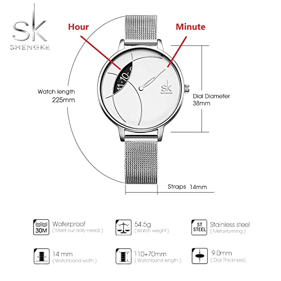 Amazon.com: SHENGKE Creative Simplicity Women Watch Mesh Band Elegant Women Watches Ladies Business Wristwatch: Watches