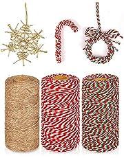 KAHEIGN 3 Stks Kerst Jute Snaren en Katoen Touw Rolls, 984 Voeten Rood Wit Groen Katoen String Jute Touw Koord voor Xmas DIY Ambachten Cadeaus Bakken