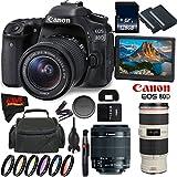 Canon EOS 80D DSLR Camera with 18-55mm Lens 1263C005 (International Version) + Canon EF 70-200mm f/4L IS USM Lens + 128GB Class 10 Memory Card + LP-E6N Lithium-Ion Battery Bundle