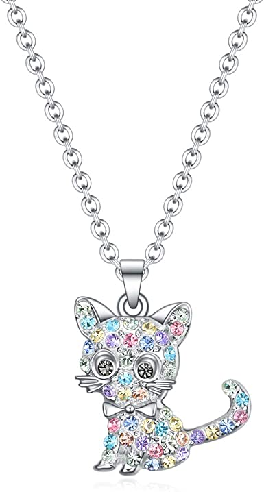 Dog Pendant Necklace Jewelry for Women Girls Kids,Silver Plated Dog Lovers Gifts for Kids Jewelry