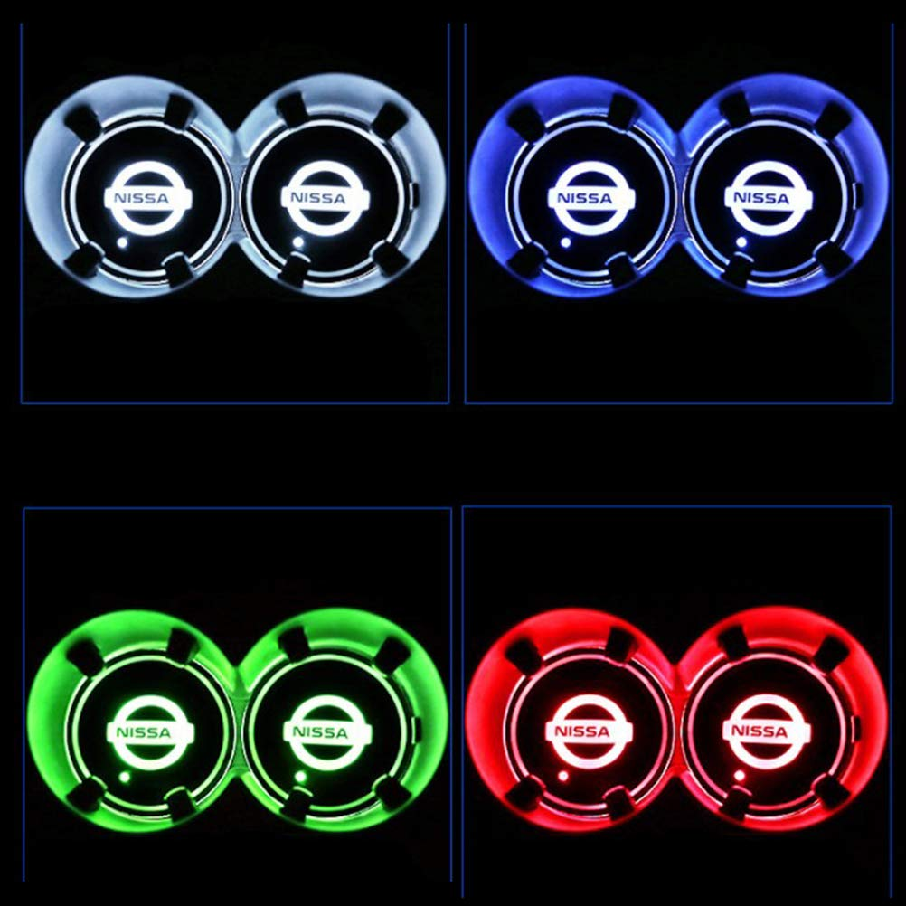 7 Colores de luz integrada Rivadal Alfombrilla de Carga USB para Coche 2 Posavasos con Logotipo de Coche con luz LED Impermeable para Botella de Bebidas