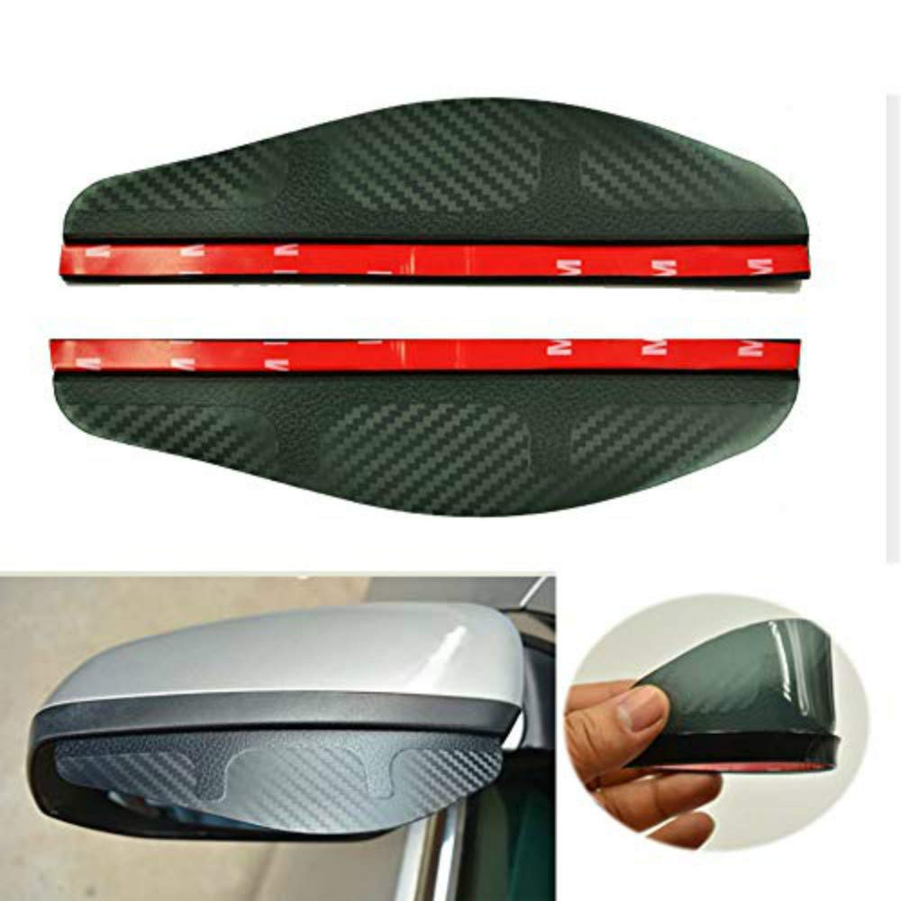 labwork 2 Pcs Smoked Black Mirror Rain Visor Smoke Guard Rear View Side Mirror Rain Eyebrow Carbon Fiber Rear View Mirror Visor Guard for Most Car Truck and SUV