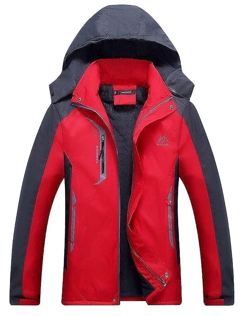 Amazon.com: Hombres de manga larga chaqueta de montaña otoño chaqueta de lana con capucha impermeable al aire libre de esquí: Clothing