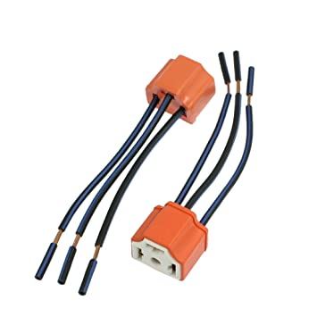 61PoVbaSyvL._SY355_ amazon com uxcell 2 x h4 9003 ceramic wire wiring harness sockets Male Female Gasket at suagrazia.org