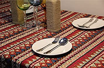 YOYOMALL Bohemian Exotic Coffee Table Cloth,Ethnic Red Stripes TableCloths  Multi Purpose Table Cover