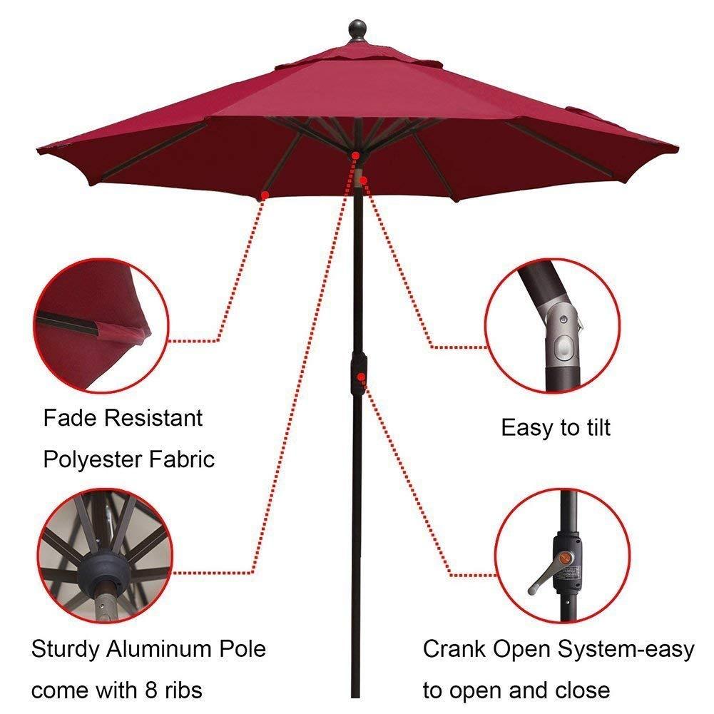EliteShade 9Ft Market Umbrella Patio Outdoor Aluminum Backyard Table Umbrella (Burgundy) by EliteShade (Image #3)