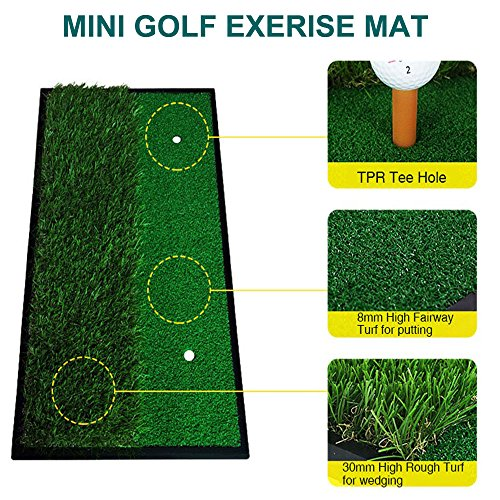 Foxcesd Golf Mat, Golf Hitting Mat with Realistic Fairway & Rough Portable Golf Practice/Training Turf Mat Mini Golf Green Grass Putting Mats for Indoor and Outdoor Golf Sports 12'' x 24'' by Foxcesd (Image #1)