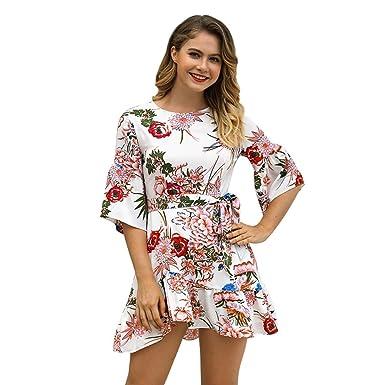 Vestido Corto Floral de Mujer O-Cuello 1/2 Dobladillo con Volantes ...
