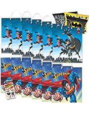 DC Comics Superman and Batman Party Bags Bundle ~ 12 Pack Batman and Superman Party Favor Bags for Candy, Toys, Treats, and More with Stickers (Superhero Party Supplies)