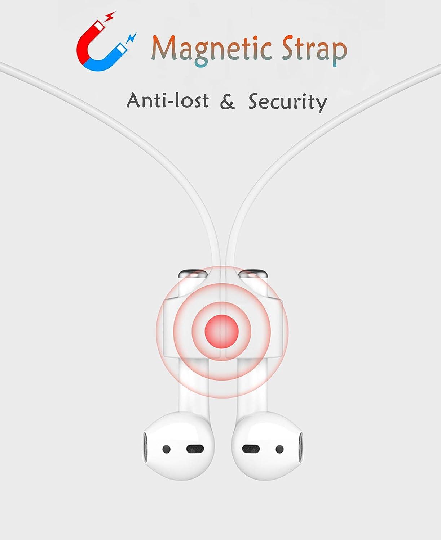 2 Pares Set de Ear Tips Antideslizante y Cuerda de Silicona el/ástica Flexible + Correa Magn/ética Antip/érdida sciuU Almohadilla Intraurales Compatible con Apple AirPods//EarPods 1 Pieza Blanco