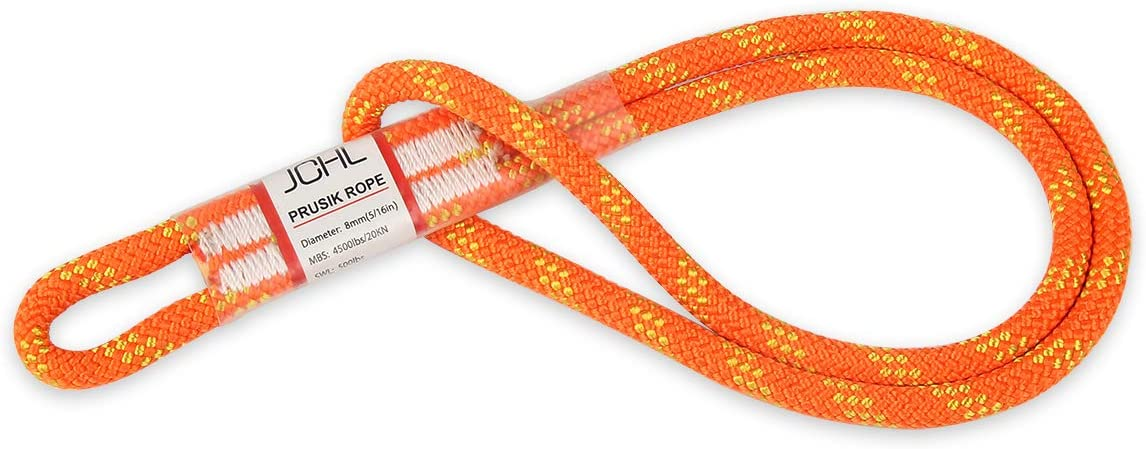 JCHL 8mm Prusik Cord Pre-Sewn 18in Prusik Loop Sewn Loop for Climbing Arborist Rescue Mountaineering Rope