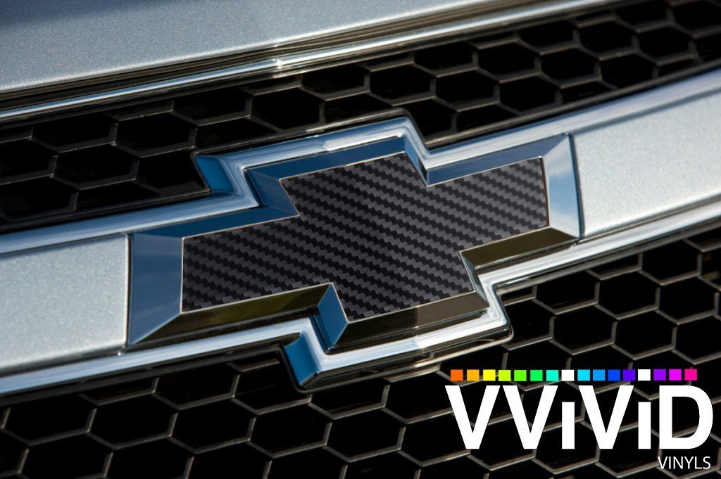 """x2 VVIVID Dry Black Carbon Fiber Auto Emblem Vinyl Wrap Overlay Cut-Your-Own Decal for Chevy Bowtie Grill Rear Logo DIY Easy to Install 11.80/"""" x 4/"""" Sheets"""