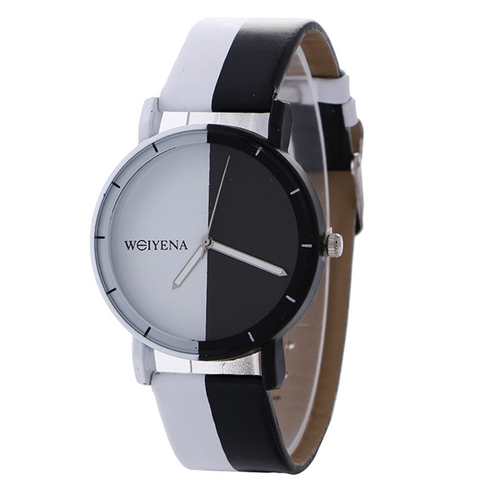 Womens Quartz Watch VANSOON Clearance Analog Quartz Neutral Black and White Pattern Fashion Leather Quartz Wrist Watch Teen Girls Waterproof Pocket Watches