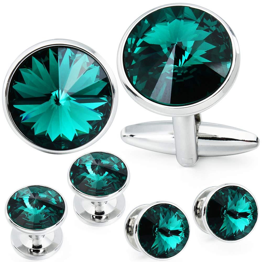 HAWSON Cufflink and Studs Tuxedo Set Silver Color with Swarovski Crystals in Jet Hematite, Dark Blue, Crystal Grey,Purple, Green (Emerald)