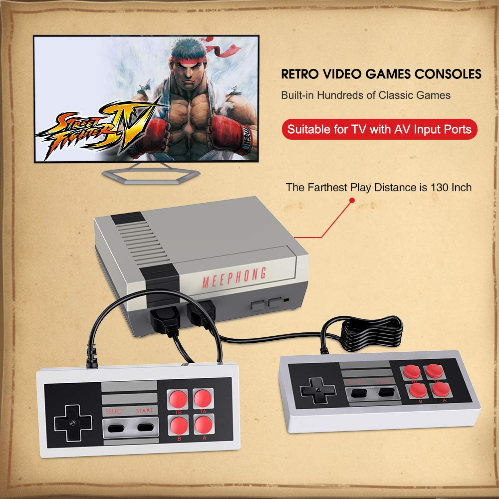 MEEPHONG Retro Game Console, AV Output NES Console Built-in Hundreds of Classic Video Games by MEEPHONG (Image #6)