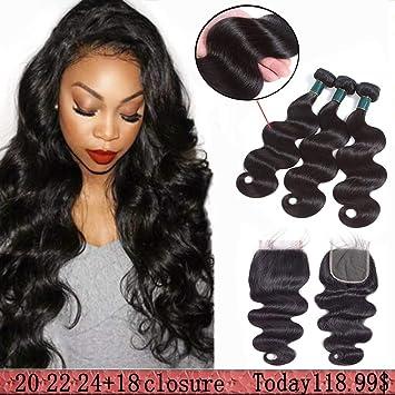 Brazilian Body Wave Human Hair Bundles With Closure Virgin hair 3 Bundles  With 4x4 Free Part Lace