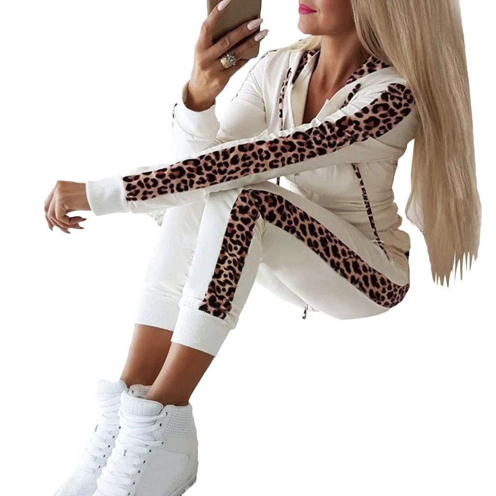 Nuove Esplosioni Autunnali E Invernali Pantaloni da Donna A Maniche Lunghe con Stampa Leopardata E Cerniera Dcola Tuta Sportiva da Donna