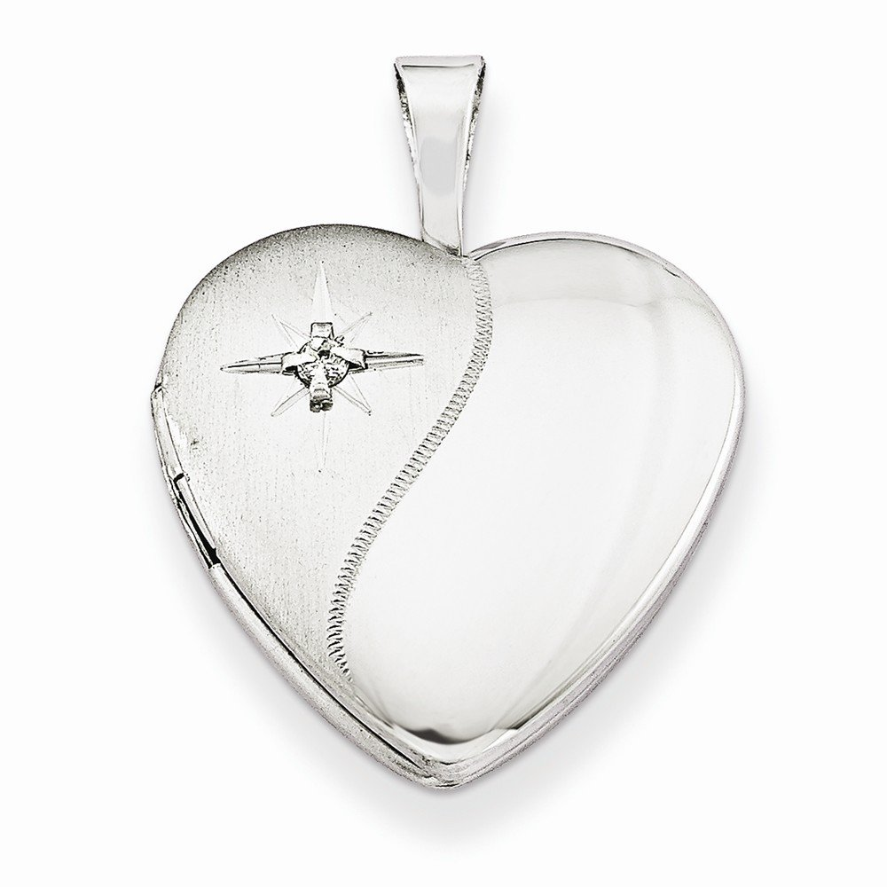 Sterling Silver /& Diamond 16mm D//C Heart Locket Best Quality Free Gift Box