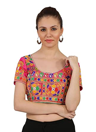 Desi Look Womens Pink Cotton Jacquard Floral Embroidered Full Stitched Blouse
