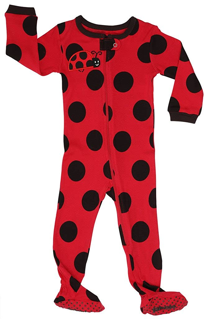 Elowel Baby Girls footed polka dot pajama sleeper 100% cotton (size 6M-5Years) Elowel Pajamas fg-polkadots00