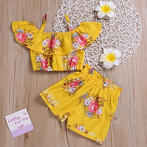 5af1b2c7eee Toddler Baby Girl Elegant Dot Print Bowknot Shirt + Pure Yellow Overall  Dress Girls Princess Suspender