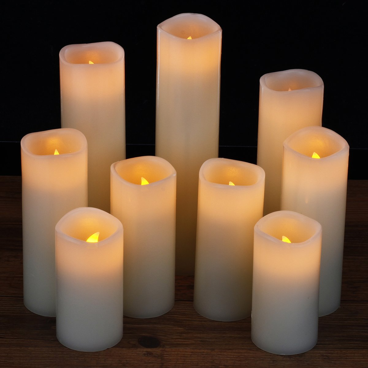 Flameless Candles, Led Candles Set of 9(H 4'' 5'' 6'' 7'' 8'' 9'' xD 2.2'') Ivory Real Wax Battery Candles With Remote Timer by (Batteries not included) by comenzar (Image #8)