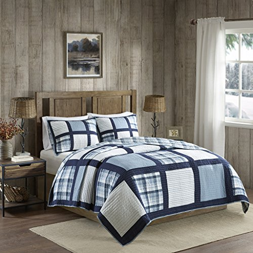 Huntington Reversible Oversized Cotton Quilt Mini Set Blue Full/Queen (Quilt Designer Sets)