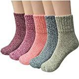 5 Pairs Womens Thick Knit Warm Casual Wool Crew Winter Socks (fits shoe size 5-8)